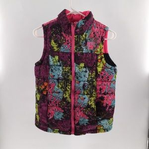 Nike puffer  graphic pink reversible girl Vest